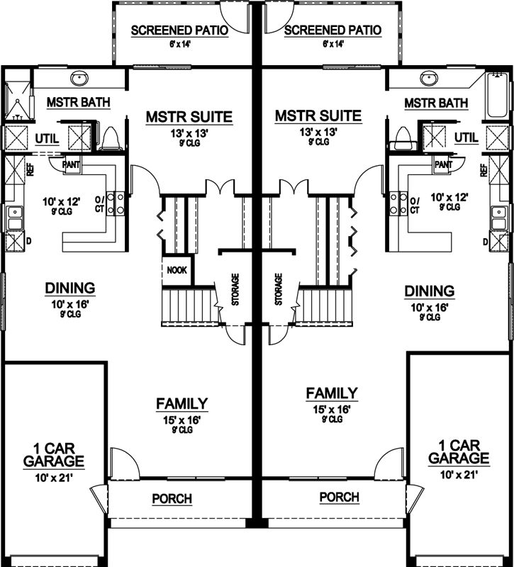 45 best house plans duplex images on pinterest house for Up and down duplex plans
