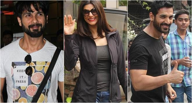 IMAGES: Celeb spotting: Sushmita Sen, John Abraham and Shahid Kapoor are all smiles for shutterbugs https://goo.gl/TJtFiQ