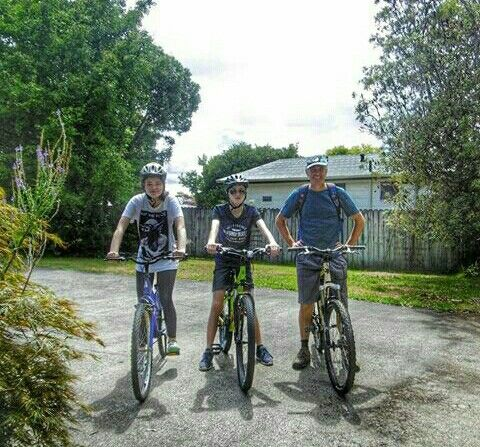 Lauren Davey, Matthew Davey and possible relative going bike riding. Taken from Instagram.