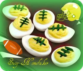 Packer football deviled eggs.Sure to be a hit at your next party! GO PACK GO!!!