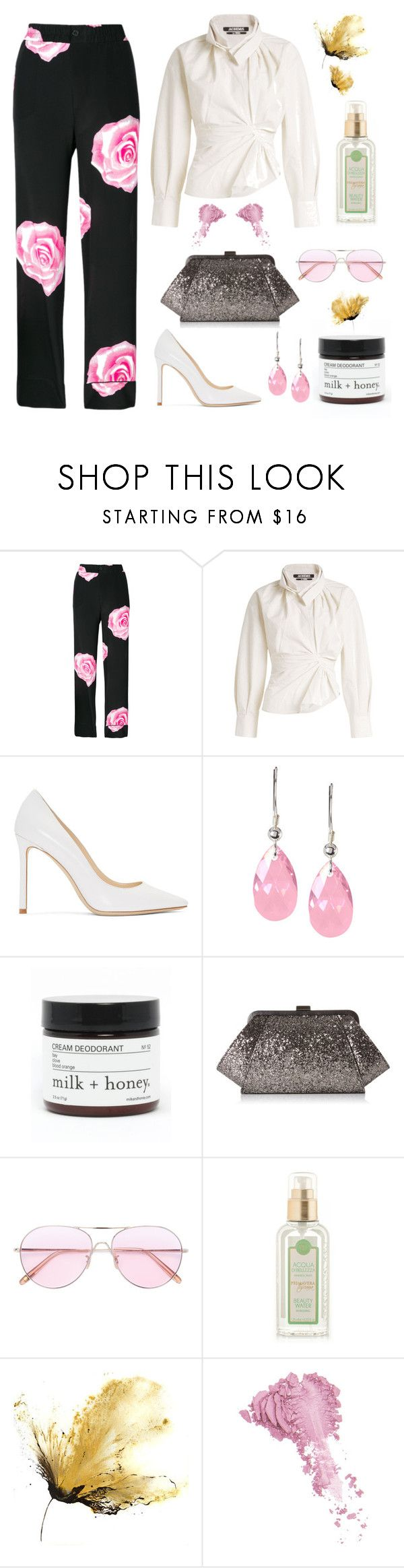 """Fit for it"" by helene-franck ❤ liked on Polyvore featuring Ganni, Jacquemus, Jimmy Choo, Sevil Designs, Milk + Honey, ZAC Zac Posen, Oliver Peoples and Bésame"