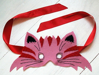 cat mask, felt, ribbon, and a little stitching