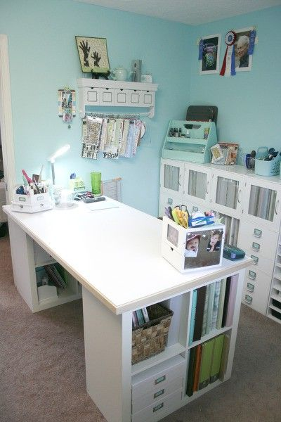 Good Idea For A Sewing Table. It Would Need To Be Taller For A Cutting Table.  Ikea Expedit 2 X 2 With Added Table Top. Desk Top Measures In.