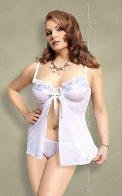 Nadine - Plus Size - white 1705 koszulka stringi i podwiązka