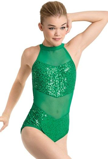 eb2e642ca9 Sequin And Mesh Halter Leotard