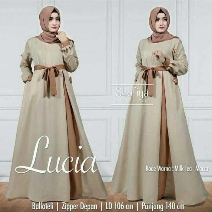 Baju Pakaian Wanita Gamis Maxi Lucia Dress Milktea keterangan produk Baju Fashion Hijabers menggunakan bahan wolvis Baju Hijabers Muslim beraplikasi tali ob