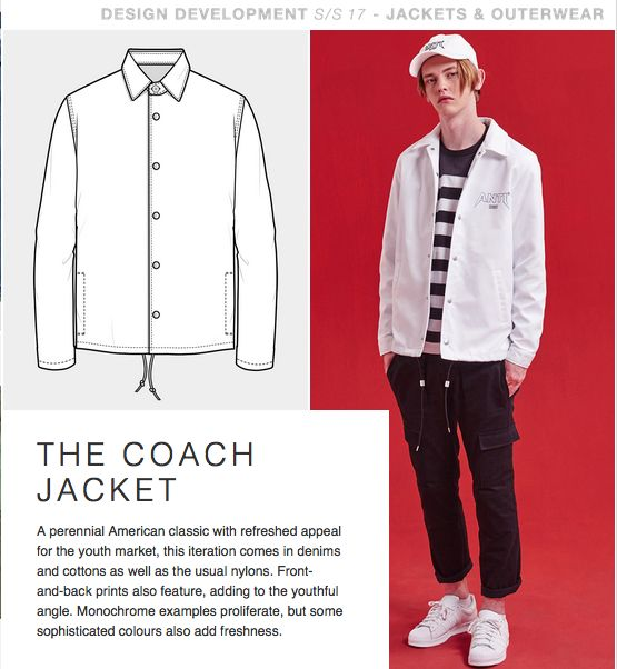 Coach jacket with minimal lines and details