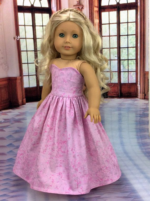 Pink ball gown dress by HoschPoschCreations on Etsy. Made from the LJC Blossom Dress pattern. Get it here http://www.pixiefaire.com/products/blossom-dress-pattern-18-dolls. #pixiefaire #libertyjane #blossomdress