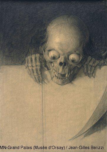 Julien-Adolphe Duvocelle, Cráneo con ojos exorbitados (detalle).