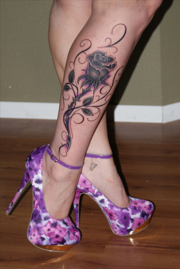 My new rose, calf tattoo by Joshua Hartsfield of Iconic Tattoo in Peoria, AZ! I love it!!
