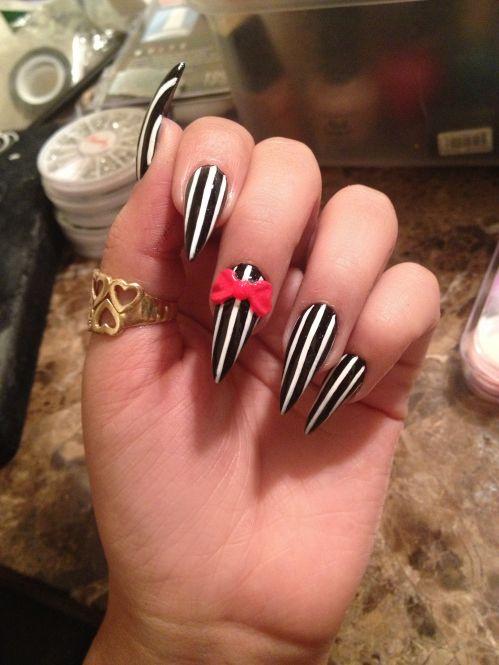 Beetlejuice nails #Halloween salonfanatic.com  #NailArtGalleryMagazine