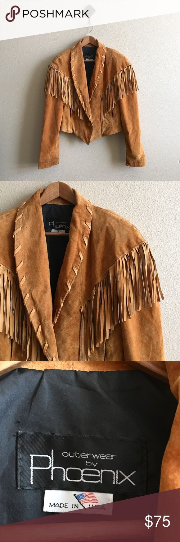 '80s / Western Fringe Leather Jacket Fringe suede jacket. Fits cropped, has shoulder pads. Good vintage condition.  BRAND: Phoenix MATERIAL: suede / polyester YEAR/ERA: 80s LABEL SIZE: L BEST FIT: M  MEASUREMENTS: Chest 19 in Length 21 in  → Style inspiration: 90210 ☒ I do not model or trade, sorry! ❁ Check out my closet for more vintage! Vintage Jackets & Coats