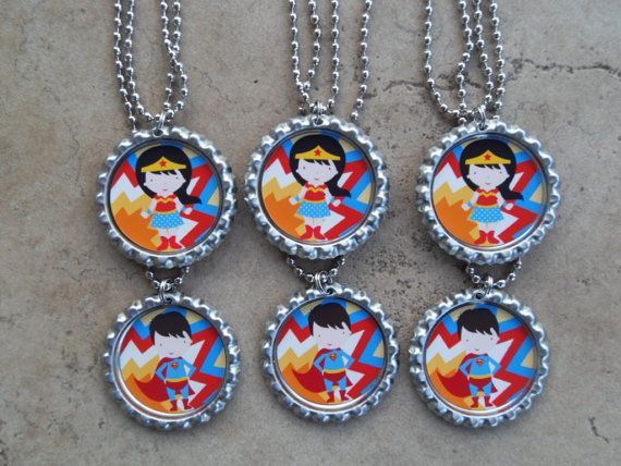 Set of 6 Super Hero / Wonder Woman / Superman by PeppermintTurtle, $11.99