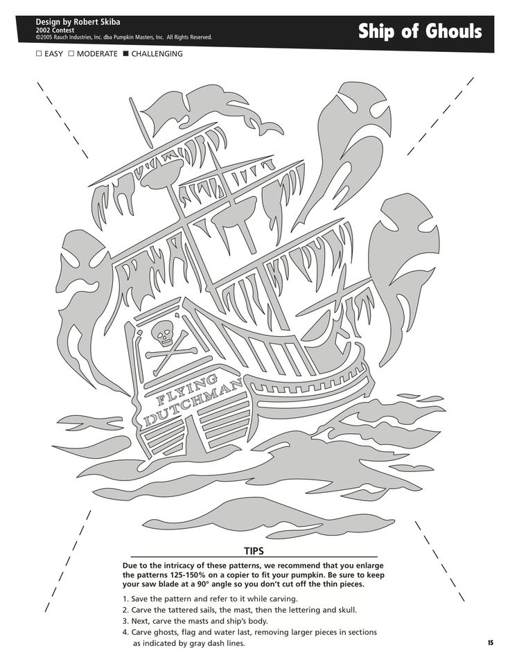 Ship of Ghouls free pattern by Pumpkin Masters. Want to print this out? Click on the pin's image, print it out and voila! Pumpkin pattern perfection.