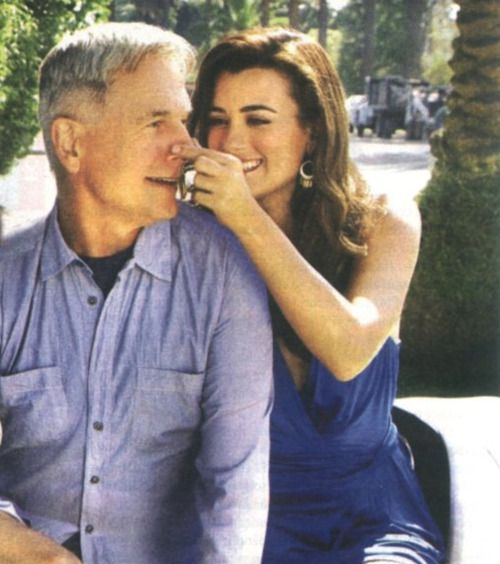 Cote de Pablo and Mark Harmon. Ziva and Gibbs.  Sad that she left the show, but I think they did it right.