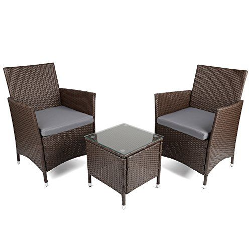Christow Black Rattan Table U0026 Chairs Garden Patio Furniture Set With  Cushions