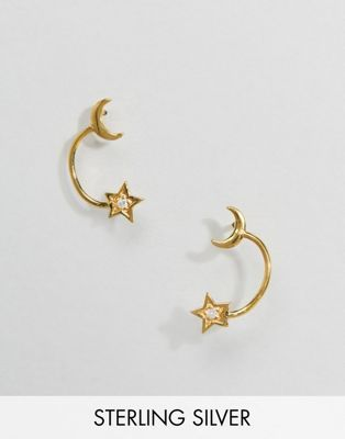 70de0a98b ASOS DESIGN Sterling silver with gold plate stud earrings in star and moon  design