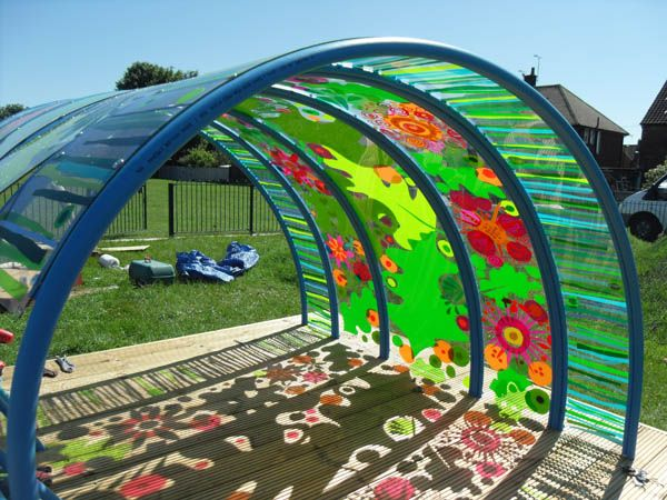 "Outdoor ""Den"" I would leave it clear for the children to paint on. Basically becomes colour/light play."