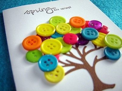 I have these buttons.  I have tree stamps.  And I have cards that match the buttons.  I think I know what I'm doing tonight.