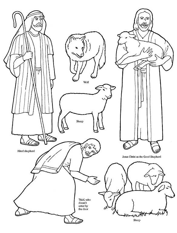 sheep shepherd coloring pages - photo#9