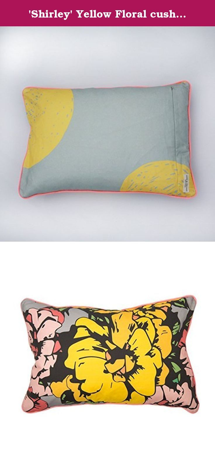 """'Shirley' Yellow Floral cushion cover. This cushion is constructed of linen & cotton blend fabric designed by Maker & Merchant. The front of the cushion is a large floral design we call """"Shirley"""". The cushion features a chalky neon pink piping and a contrasting back of large yellow spots. The cushion measures 60 x 40cm (23.5x15.5""""), cover only. The cover is machine washable and dry in the shade. Please do not bleach, tumble dry or dry clean."""
