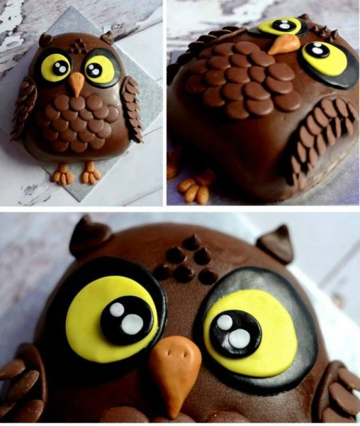 Chocolate Owl Cake Pinned by www.myowlbarn.com