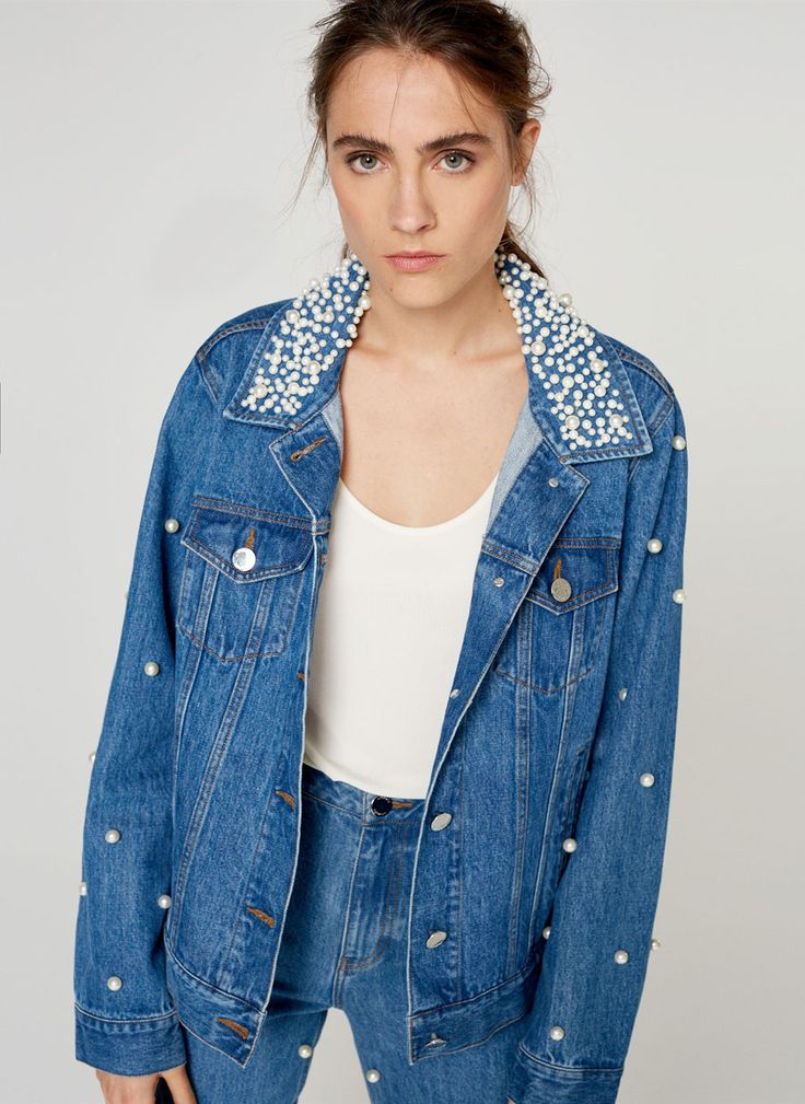 Uterqüe United Kingdom Product Page - - Denim jacket with faux pearls - 125