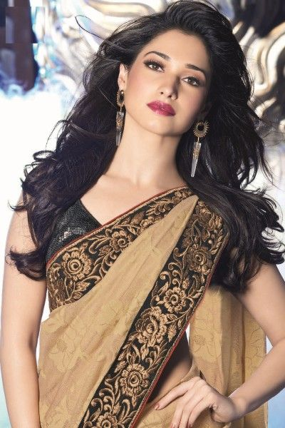 Tamannaah Bhatia Sarees -Beige Jacquard and Net Saree with Lace Work - Bhumi103