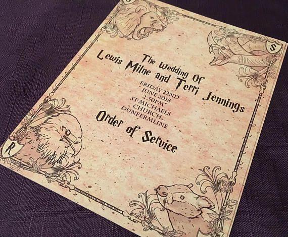 Harry Potter Stil Reihenfolge Der Service Hefte Fur Hochzeiten Wedding Order Of Service Harry Potter Wedding Order Of Service