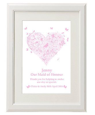 Unique Personalised Bridesmaid Thank you Print gifts Unusual present ideas