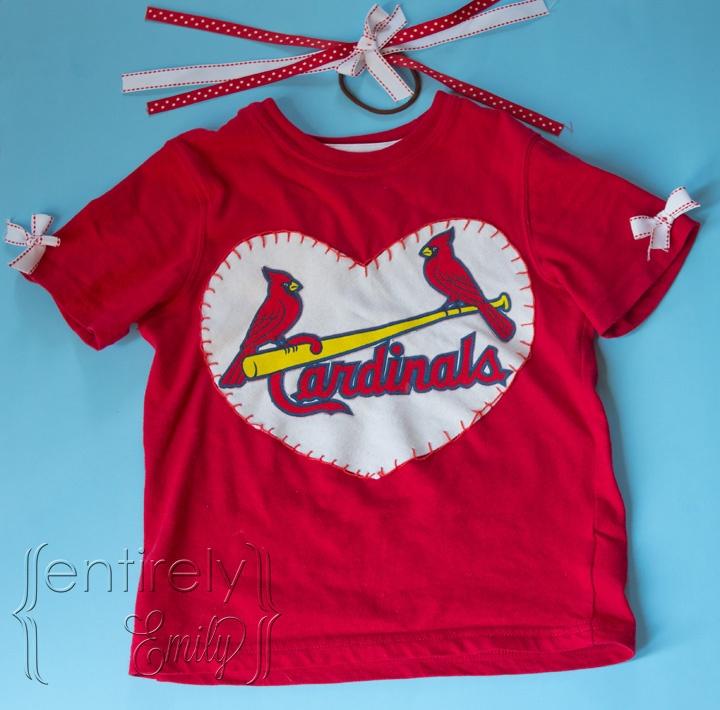 @Entirely Emily: A Cute Saint Louis Cardinals Girl's Shirt #diy