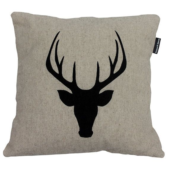 Hessian Stags Head Cushion by StencilHaus on Etsy, £35.00 #hessian #staghead #deer #black #calico #handmade #stencil #cushion