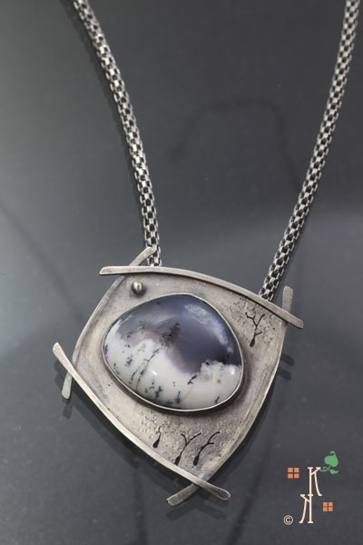 """Time Stands Still"" from Kathleen Krucoff's Treescape collection.  Dendritic opal stone set in sterling silver."