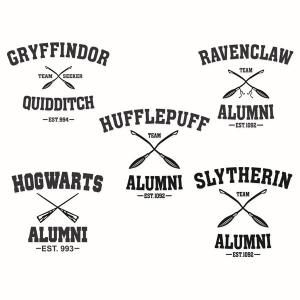Hogwarts Slytherin Gryffindor Ravenclaw and Hufflepuff School Alumni Pack Cuttable Design Cut File. Vector, Clipart, Digital Scrapbooking Download, Available in JPEG, PDF, EPS, DXF and SVG. Works with Cricut, Design Space, Sure Cuts A Lot, Make the Cut!, Inkscape, CorelDraw, Adobe Illustrator, Silhouette Cameo, Brother ScanNCut and other compatible software. Perfect for Harry Potter Fan.