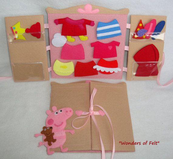 Peppa pig fieltro ropa de vestir muñecas juguete tranquila