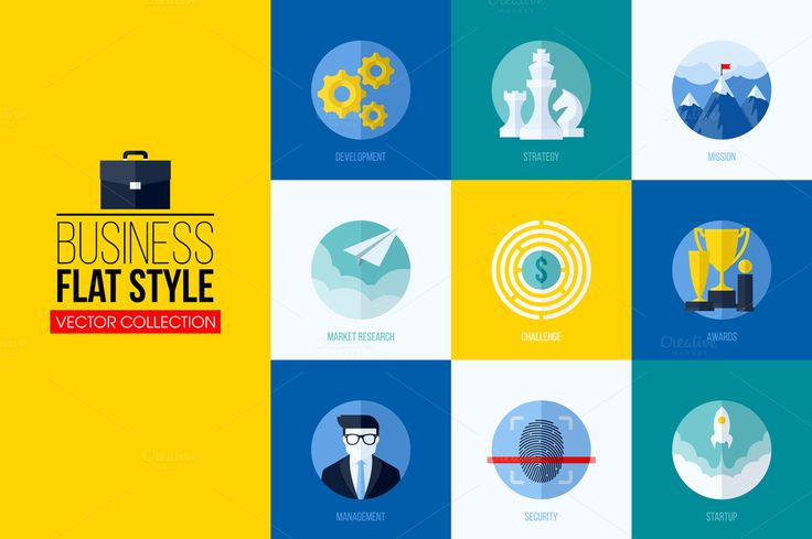 Flat conseptual icons for web or app by ussr on Creative Market