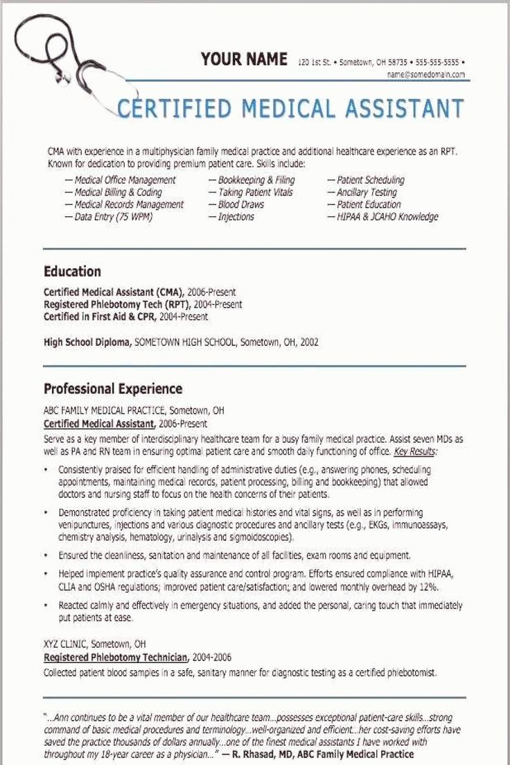 Medical assistant Resume Template Elegant Sample Resumes