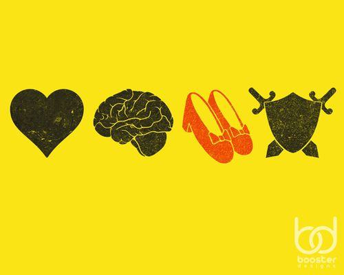 Heart, brains, ruby slippers, courage