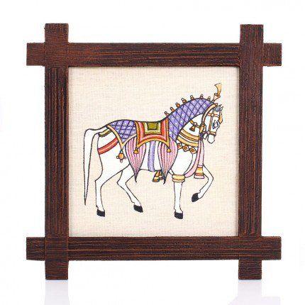 Wooden Wall Hanging - Jute Art Horse, W1881,