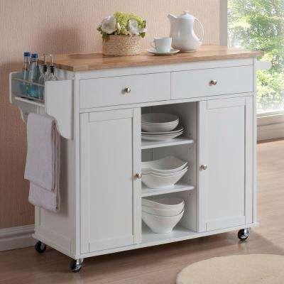 H Modern Kitchen Island Cart In White Home Depot