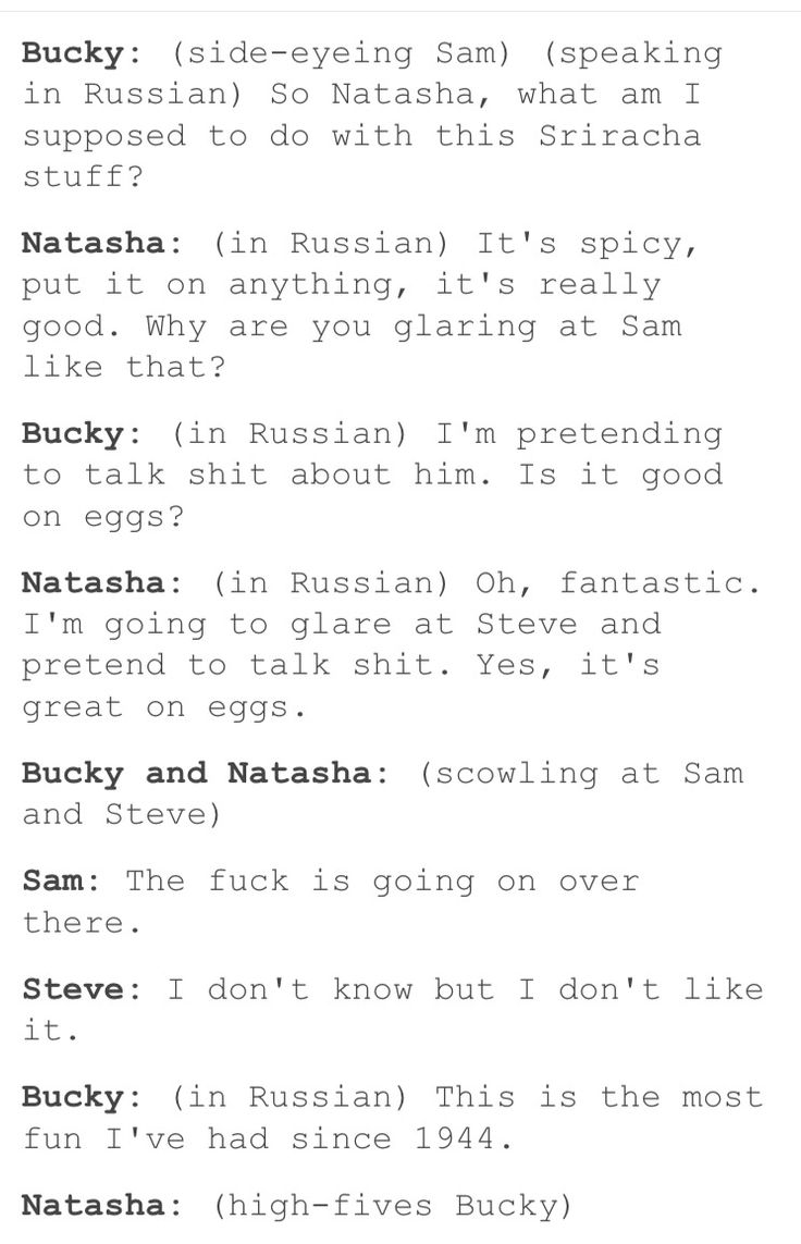 Steve and Sam learn a bit of Russian to get what the Russian ex assasins are up to until Bucky and Natasha figure it out and continue doing the same thing but this time in German