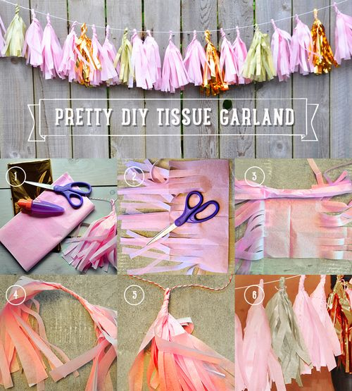Diy tissue paper crafts, tissue paper tassel garland, tissue paper decorations, pink and gold girl birthday ideas, perfect for first birthday, baby girl birthday ideas, tassel garland tutorial found on ajandcjplay.com