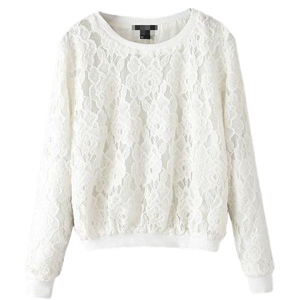White Simple Womens Crew Neck Jumper Lace Plain Sweatshirt ($30) ❤ liked on Polyvore featuring tops, hoodies, sweatshirts, sweaters, blusas, white, white sweat shirt, white crewneck sweatshirt, lacy tops en sweat shirts