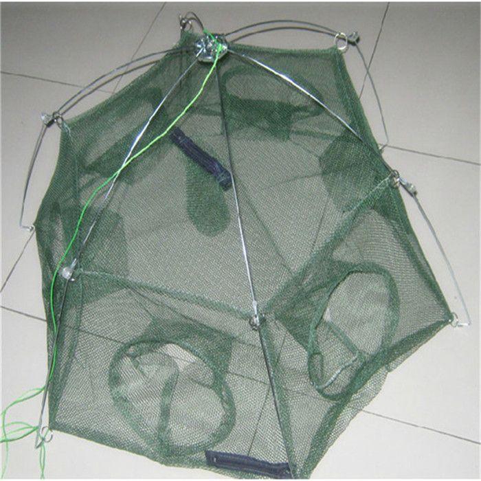 Promotion!! New 80 * 80cm Folded Fishing Cast Mesh Minnow Trap Baits Cast Mesh Shrimp Cage 6 Holes Fish Crab Net