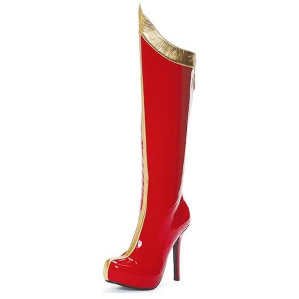 Adult Red & Gold Super Hero High Heeled Boots ($65) ❤ liked on Polyvore featuring costumes, halloween costumes, multicolor, womens costumes, lady halloween costumes, ladies costumes, adult ladies halloween costumes and adult costume