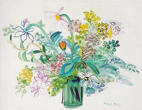 stilllifequickheart: Raoul Dufy Bouquet with Yellow Flowers 1946