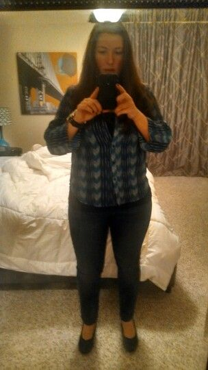 Well, this is the ONLY thing I think I am keeping from Stitch Fix #2. Creative Concepts Chevron Blouse, GAP Tank, GAP Girlfriend Jeans, AK Sport Shoes.