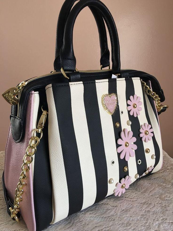 Gorgeous Betsy Johnson Spring Pink Black Striped Satchel Handbag Purse - NEW. Super Chic Black & Off White Striped purse. Hand carry and cross-body purse strap. | eBay!