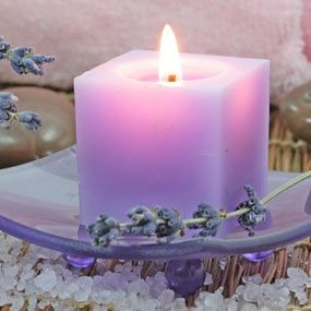 Lavender candles in the bath and around the house