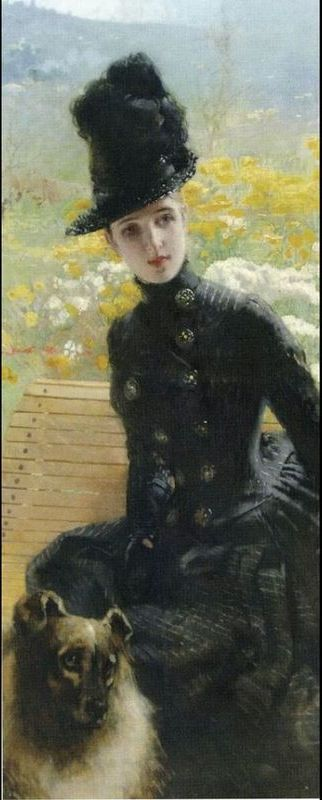 """Lady in black"" by Italian painter VITTORIO MATTEO CORCOS (1859/1933)"